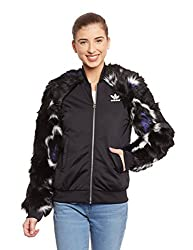 adidas Originals Women's Quilted Jacket (AB2610_Black_40)