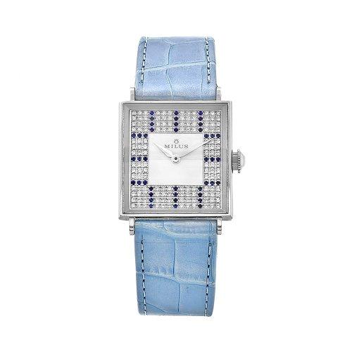 Milus Women's AURQ004 Aurigios Blue Leather Diamond Dial Watch