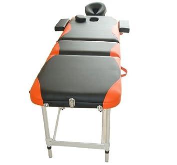 Cama De Masaje Madera Plegable 185x60cm Tatuaje Terapia Cama Negro Naranja NUEVO
