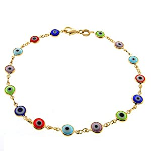 10 Inch Multi-Color Gemstones & Gold Plated Evil Eye Anklet Bracelet