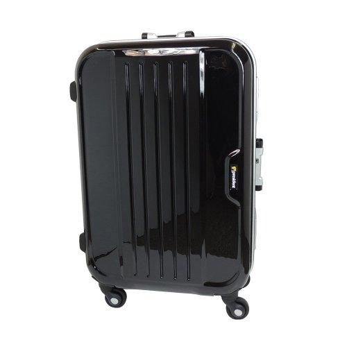 【 President 】スーツケース 軽量アルミフレーム TSAロック搭載 【AIRボックスフレーム2013】3年保証 10COLOR 3サイズ【大型、ジャスト型、中型】 (ジャスト型(Jサイズ) 74リットル, クリスタルブラック)