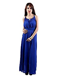 Envy Women's Georgette Round Neck Dress (Blue, Free Size)