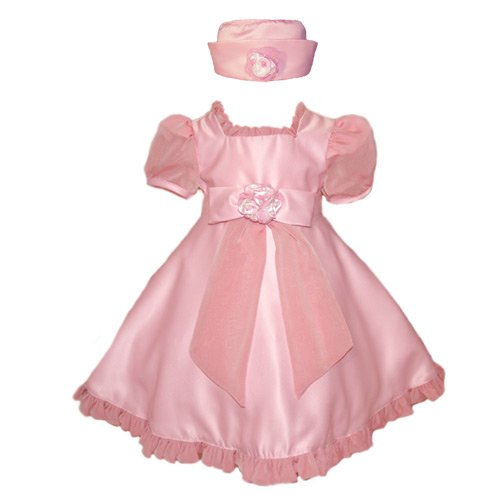 Baby Fancy Easter Dress - Pink with Sheer Accents (12M - 3T)