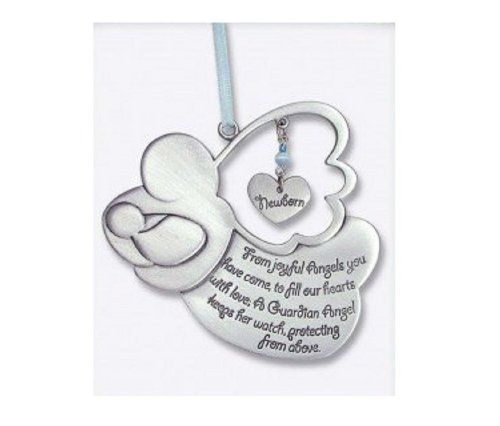 "Sweet GUARDIAN ANGEL Baby BOY Crib Medal 4"" PEWTER - CHRISTENING/SHOWER GIFT/Baptism KEEPSAKE/with BLUE RIBBON/GIFT BOXED/INFANT - Newborn"