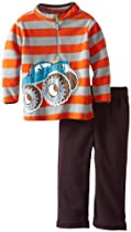 Watch Me Grow! by Sesame Street Baby-boys Newborn 2 Piece Monster Truck Pullover and Pant, Silver, 6-9 Months