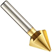 Magafor 4832 Series Cobalt Steel Single-End Countersink, TiN Coating, 3 Flutes, 60 Degrees, Round Shank