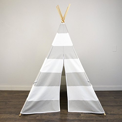 AniiKiss-6-Giant-Canvas-Kids-Teepee-Play-Tent- & AniiKiss Giant Canvas Kids Teepee Play Tent Grey Stripes - Pillowfort