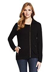 M&S Collection Pure Cashmere Biker Cardigan