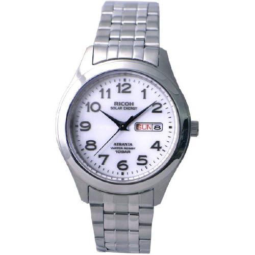 [リコー]RICOH 腕時計 ATRANTA(アトランタ) ソーラー充電 アナログ表示 スタンダード 10気圧防水 アラビアインデックス ホワイト 697004-11 メンズ