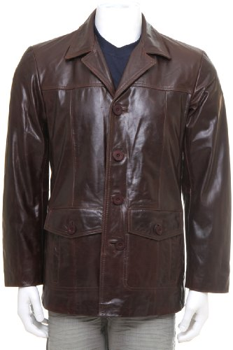 MDK Mens Leather Jacket Arthur Dark Timber 2XL