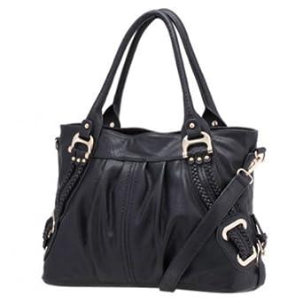 Melie Bianco Emma Braided Side Handbag (Black)