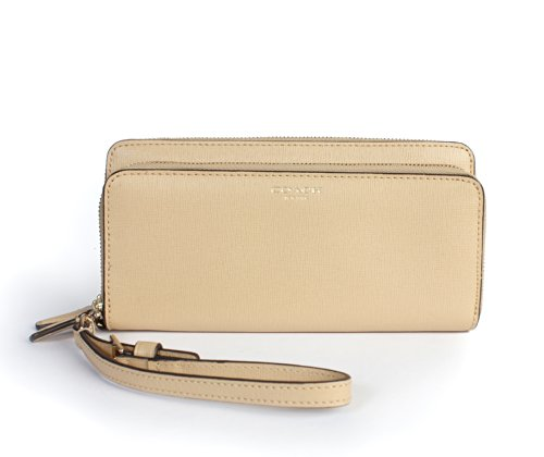 Coach   Coach 51305 Saffiano Double Zip Accordion Wallet Wristlet Tan