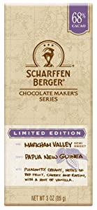 Scharffen Berger Chocolate Bar, Markham Valley Semi-Sweet (68% Cacao), 3-Ounce Bars (Pack of 6)