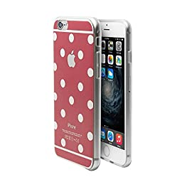 Superstart Red Cute Polka Dot Soft TPU Rubber Case for iPhone 6/6s 4.7 Inch Ultra Thin Clear Scrath Resistant Case