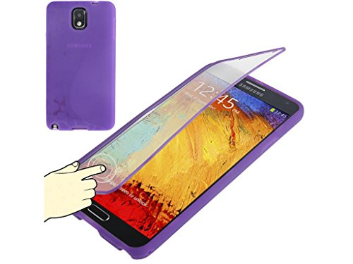 Fone-Stuff Samsung Galaxy Note 3 N9000 N9002 N9005 Genius Full Body Bodysuit Skin Gel Silicone S Line Pebble Design Cover Case For With Convenient Lcd Screen See Through Transparent Lcd Screen Flip Cover Protector In Purple
