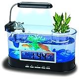Mini USB LCD Desktop Lamp Light Fish Tank Aquarium LED Clock 2012a
