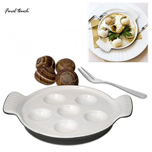 Final Touch Escargot Snail Dish Plat à Four pour Escargots 12 Trous - Gift Boxed Set - Cast Iron