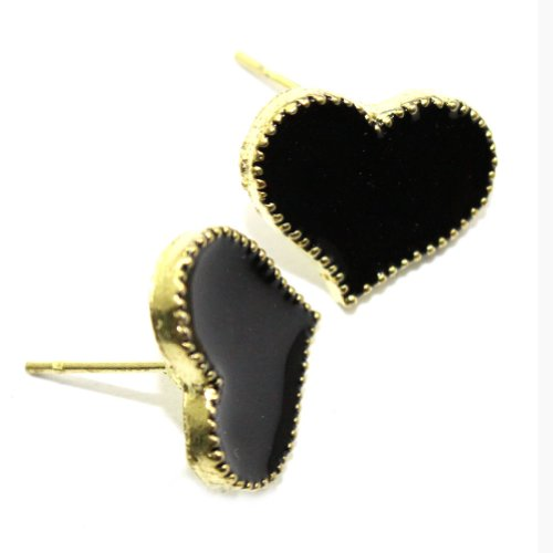 Zehui Black Cute Enamel Korea Lovely Style Love Heart Stud Earring