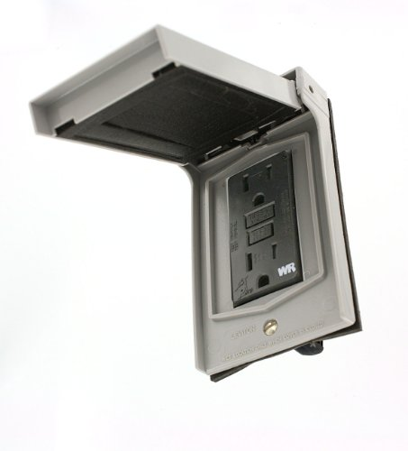Leviton 86599-CGY Vertical Weatherproof Cover with 15 Amp GFCI Tamper-Resistant Weather-Resistant, Gray