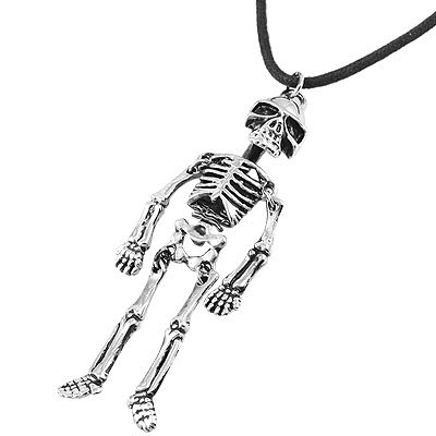 Rosallini Man Black Strap Silver Tone Alloy Skeleton Shape Pendant Necklace