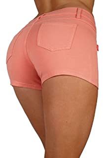 Basic Short Shorts Premium Stretch French Terry Moleton With a gentle butt lifting stitching in Coral Size L