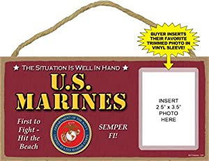 U.S. Marines Wooden Hanging Sign and Frame
