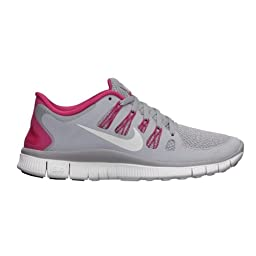Nike Free 5.0+ Womens Running Shoes 580591-061 Wolf Grey/Pink Force-White (10.5)