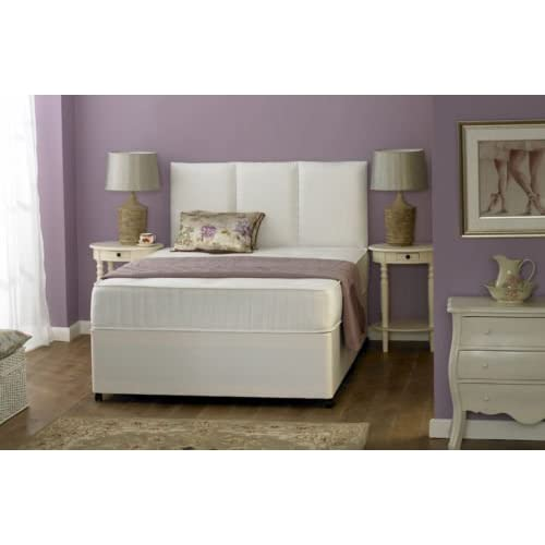 White memory soft Divan bed, with mattress and 2 drawers. (4ft6 Double)
