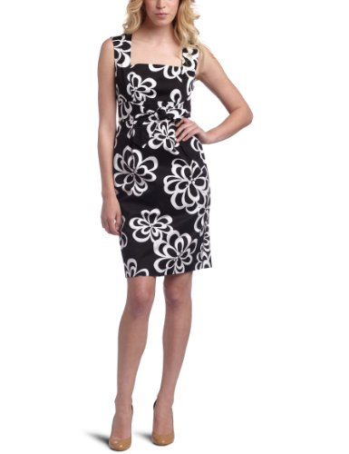 Jessica Howard Women's Cotton Sateen Sheath Dress,Black/White,16