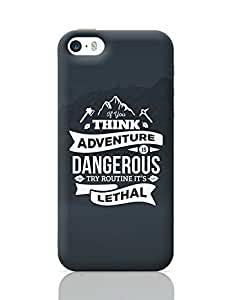 """PosterGuy iPhone 5 / iPhone 5S Case Cover - """"If You Think Adventure . . . """" Quote with Mountain Background 