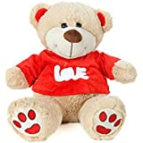 Absoluteplay Cute Teddy Bear With Red T-Shirt Soft Toy - H 37cm