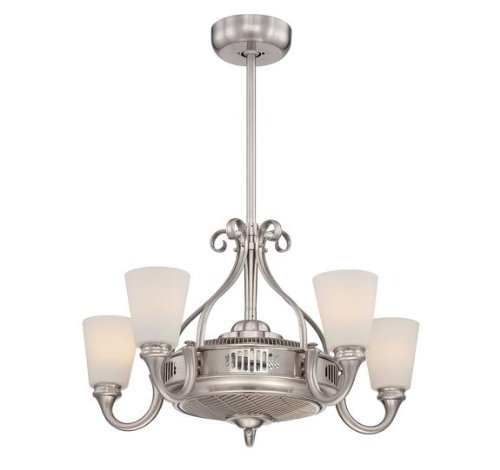 Savoy House 32-326-Fd-Sn Transitional Borea Air-Ionizing 5Lt Fan D'Lier, Satin Nickel Finish And White Frosted Glass Shades