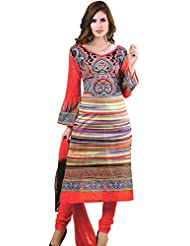 Exotic India Cayenne-Red Choodidaar Kameez Suit With Akbari Print - Red