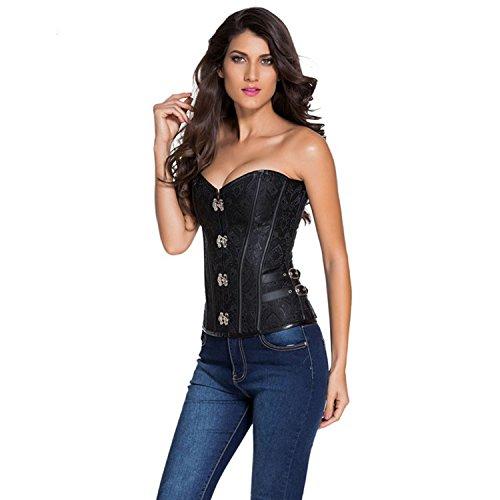 2016 Women Fashion Sexy Steampunk Style 14 Steel Boned Corset Black Sides Lace up Overbust Corset Corselete Feminino