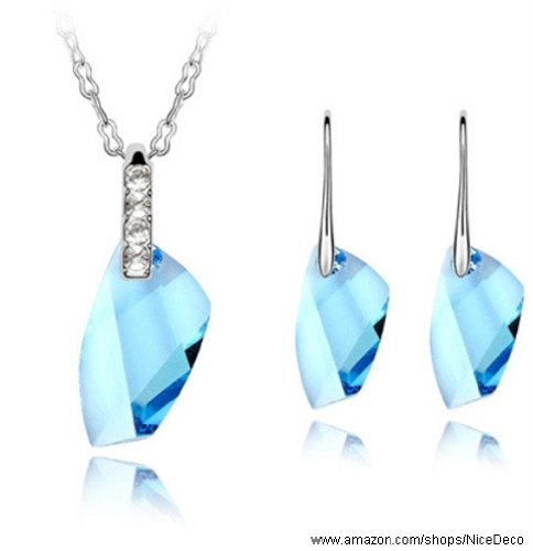 Nicedeco JE-SW-TZ044-seablue,Swarovski Elements Austrian Crystal Jewelry Sets,Sweet Memories,Necklace And Earring(2-Piece Set),Elegant style and exquisite craftsmanship