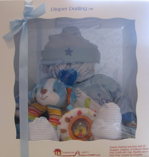Create-A-Gift Diaper Darling Baby Diapering Gift Set, Blue