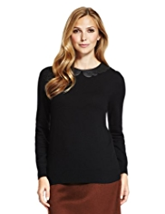 M&S Collection Laser Cut Peter Pan Collar Jumper with Wool
