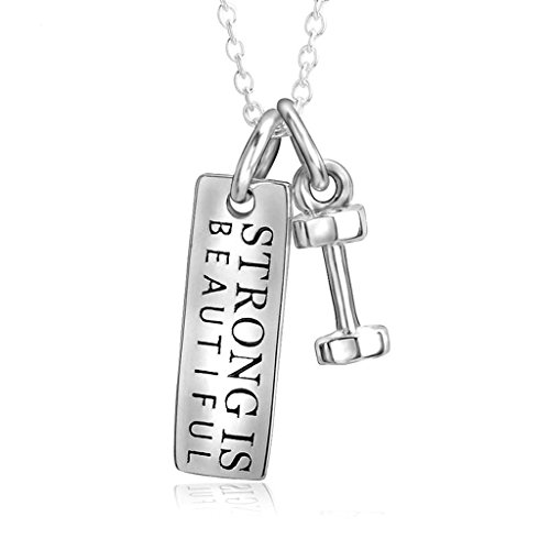 Beydodo Stainless Steel Necklaces for Women's, Pendant Engraved Tag 226mm & Dumbbell 164mm Silver (Madonna Material Girl Fancy Dress)