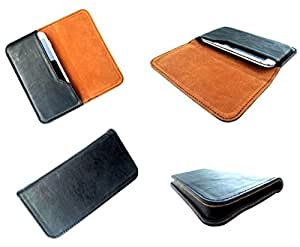 nKarta ™ PU Leather Black + Brown OG Pouch with Soft Inner Fiber Mobile Cover Case for Samsung Galaxy S II LTE i727R