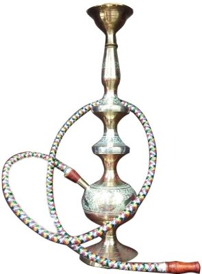 JaipurCrafts 16 inch Glass Hookah (Gold)