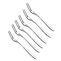 Miraclekoo Stainless Steel Flatware Dessert Forks Metal Fruit Fork, Set of 6