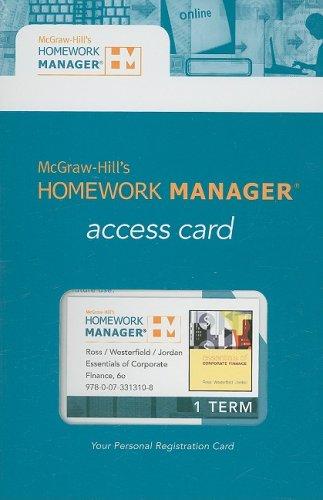 Essentials of Corporate Finance Homework Manager Pass Code