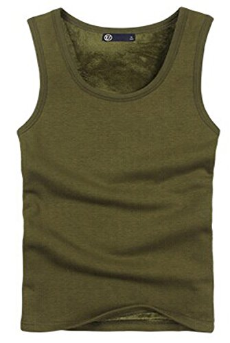 Man's Warm Tights with Thick Velvet Cotton Vest -Army Green