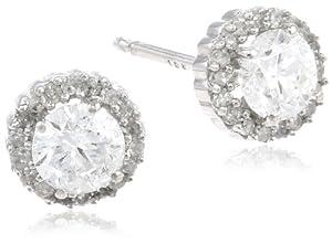 10k White Gold Diamond Martini Halo Stud Earrings (3/4 cttw, I-J Color, I1-I2 Clarity)