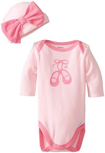 Gerber Baby-Girls Newborn 2 Piece Bodysuit And Cap Set, Ballet, New Born front-242346