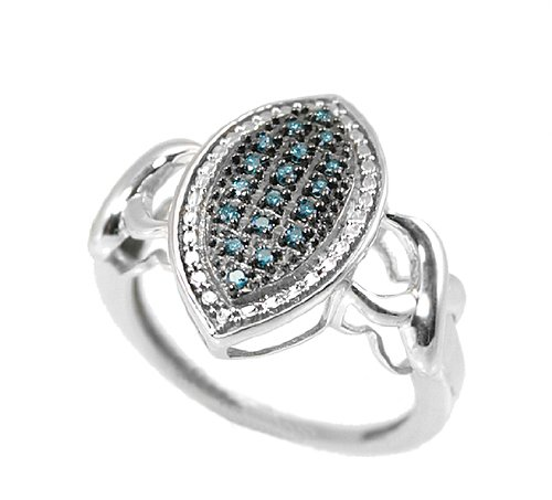 Blue Diamond Marquise Fashion Right-hand Ring Love Promise 925 0.15 Carats