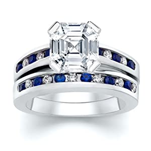 3.51 ct Asscher Diamond W Round Blue Sapphire Ring Set