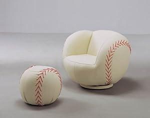 Baseball Chair & Ottoman By Crownmark Furniture