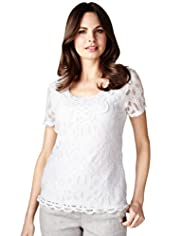 Per Una Cotton Rich Floral Lace T-Shirt
