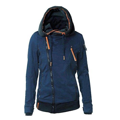 """Reasoncool Le nuove donne con cappuccio inverno cappotto caldo Zip Up Cappotti Felpe Sport Suit (M-Busto:36.2"""", Blu)"""